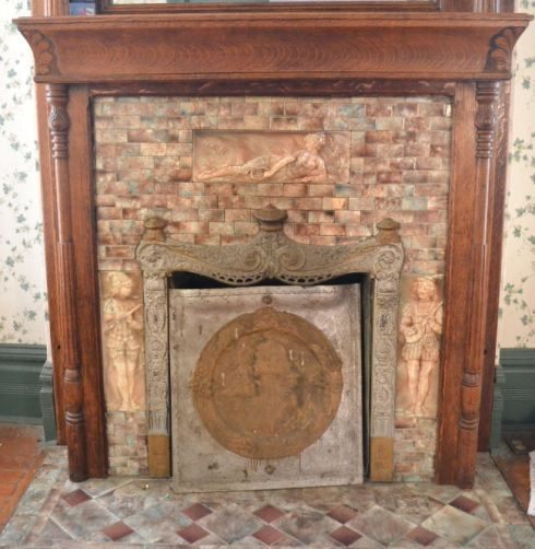 Yet another gorgeous tile set and fireplace front  fron 1890 Victorian house