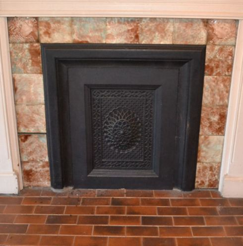 Tile set and fireplace front from 1890 Victorian House