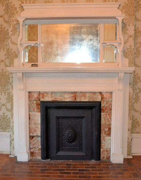 Solid wood mirrored mantel