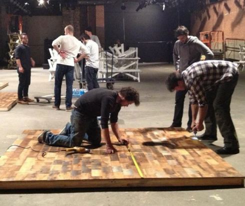 Southern Accents helping construct the set for Billy Reid during fashion week in NYC