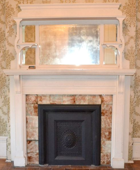 Birdseye mantel before it was removed from the 1890 Bruner  house in Little Rock, Arkansas.