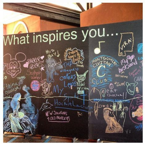 "The ""What Inspires You' chalk board drew a lot of attention!"