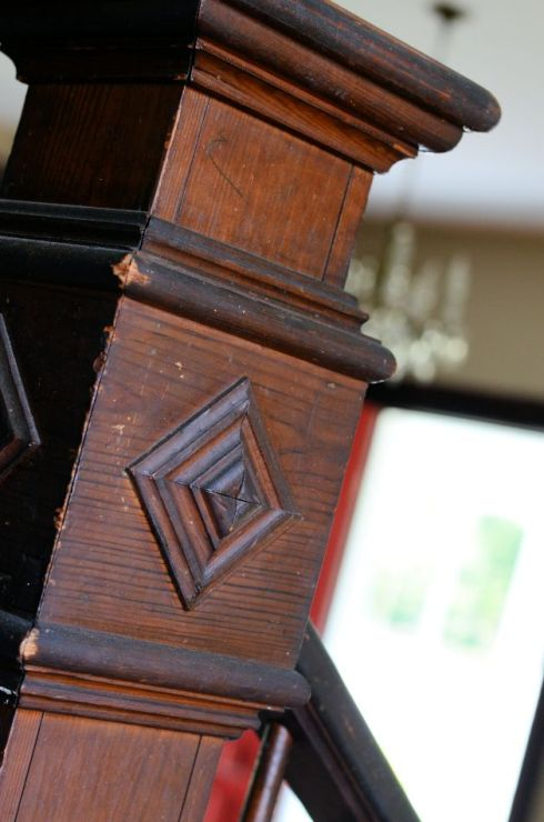 All of the beautiful solid wood newel posts were saved as well.