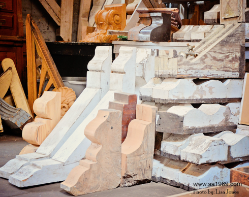 Everyone's favorite corner! This corner of our warehouse is where you will find beautiful wood corbels.