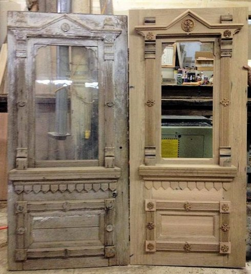 The door shown on the left is an antique door. The door shown on the right is a custom built replication. Roger constructed this door in our wood shop from salvaged antique wood.