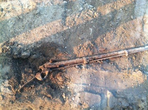 Old shotgun discovered buried underneath the back section of the barn.