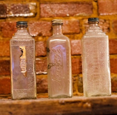 Embalming bottles left from the days of the Undertaker!