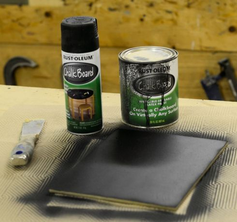 "Spray chalk paint was used to coat the smooth side of an 8"" x 10"" piece of fiber board."