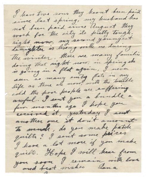The second page of this letter speaks of hard times and fabric bundles sent for quilts.