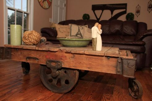 This picture was sent to us by Sara Lassiter. Sara purchased the salvaged industrial cart from Southern Accents and turned it into a beautiful conversation piece. This is another one of our favorite finished project pictures!
