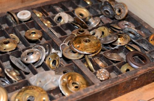 Scattered throughout our showroom are buckets and boxes full of wonderful old hardware!
