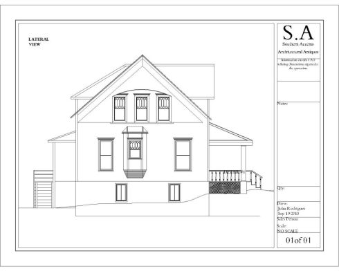This drawing from Southern Accents in house architect depicts the back of the house.