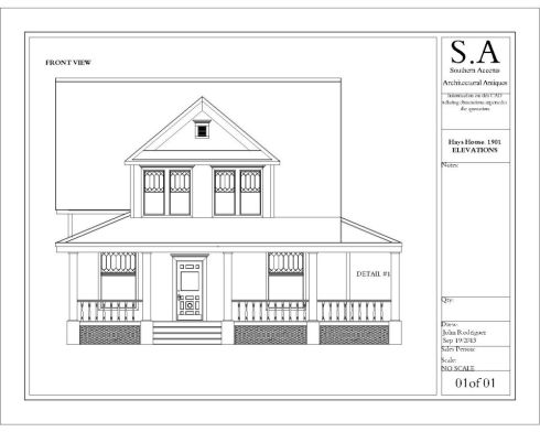Southern Accents in house architect drew this blueprint showing the front of the historic Hays house.