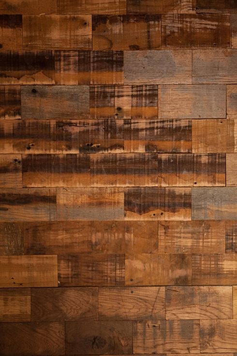 Wall built by Southern Accents from salvaged wood blocks.