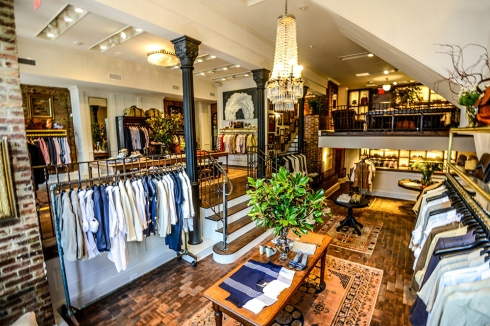 The wood-brick wall now serves as the floor in Billy Reid's Georgetown retail location. Picture used courtesy of Billy Reid.