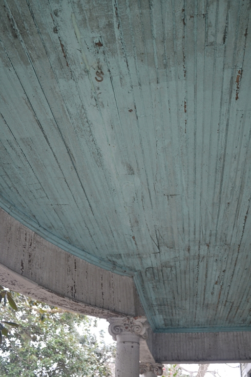 Blue porch ceiling from 1890's house in Greenville, Alabama