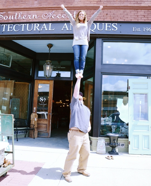 Ben and Makenzie show off a stunt from their former cheerleading days!
