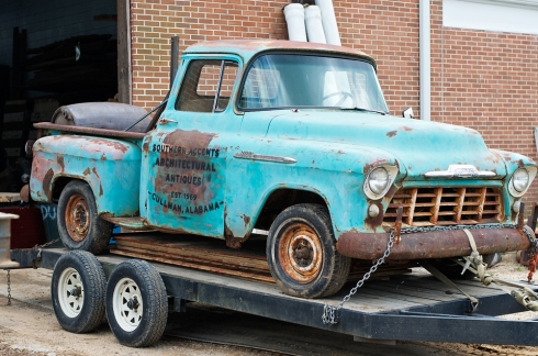 Loading up the 55' Chevy... almost ready to hit the road! Feeling a little like the Clampetts!