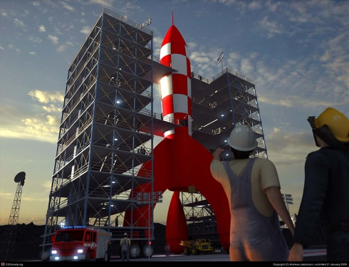 "The Tintin rocket was the inspiration for the stage setup at ""NASA on the Square"" in Huntsville, Alabama."
