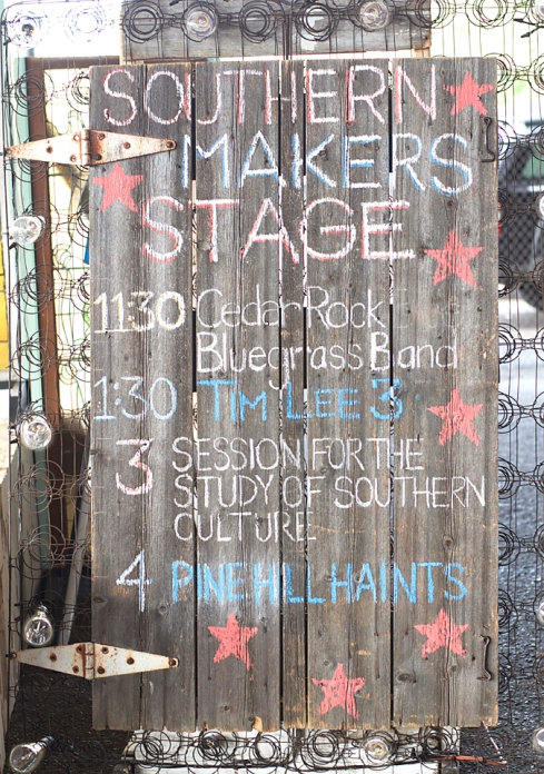Barn door used as a stage marquee at Southern Makers 2014