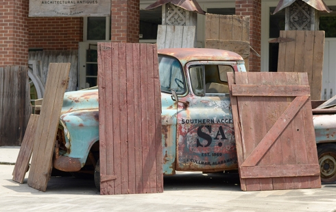 Just a few of the salvaged barn doors available at Southern Accents Wood Warehouse.
