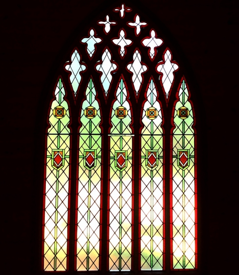 This 200 year old stained glass window originated from a church in Wales.