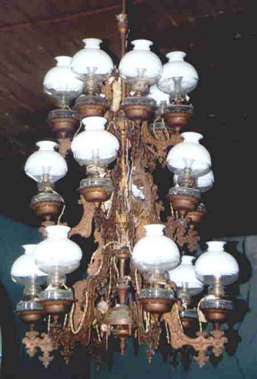 This archived photo shows the light with the original globes attached.
