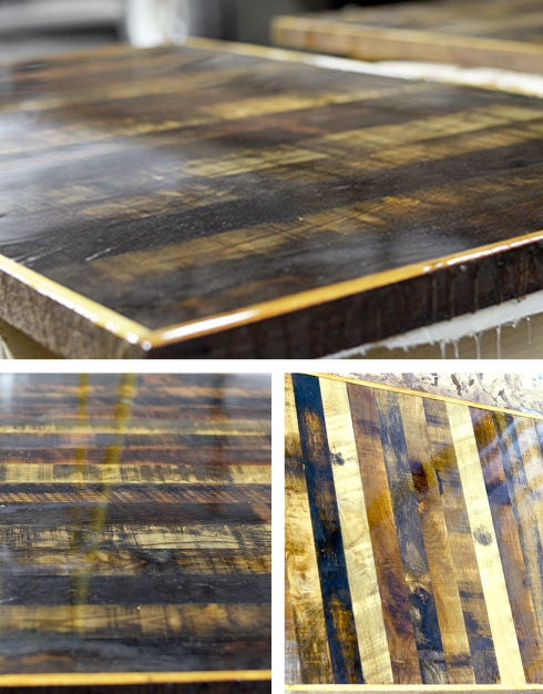 Salvaged wood booth table tops custom built by Southern Accents for PoFolks in Pensacola, Florida.