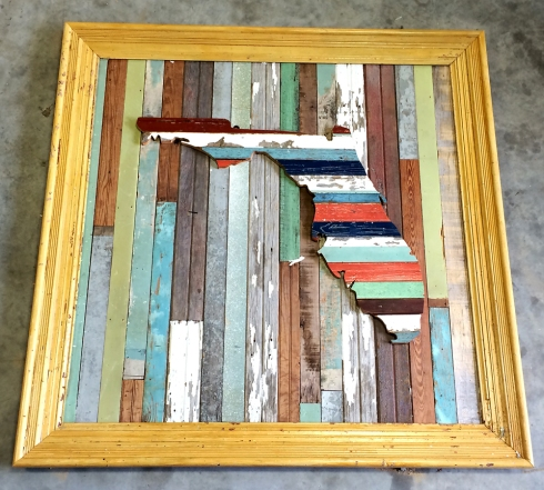 Salvaged wood wall art, custom built for PoFolks in Pensacola, Florida.