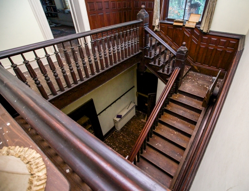This incredible staircase is one of the many architectural elements that can be salvaged from a house or structure.