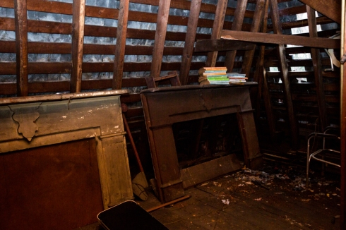 In this corner of the attic you can see an exposed area from where the house was damaged.