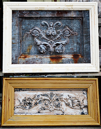 Salvaged tin pieces framed in salvaged door and window trim to create wall art.