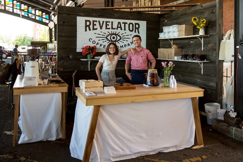 SA used salvaged wood to construct the backdrop for the Revelator Coffee booth. The tables were created by our friends at Wood Studio!