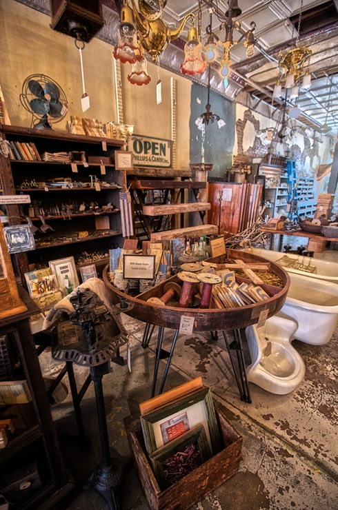 Visit our showroom and you will find a selection of small antique items and salvaged art created by local artists from salvaged goods.