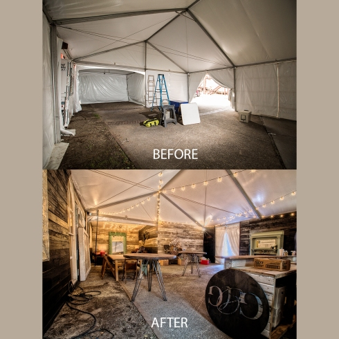 This picture shows a before and after shot of the large event tent. The after picture was taken late Friday. A few finishing touches were added the next morning to the air conditioned tent and the lounge was ready to host all the guest artists, providing a welcome refuge from the summer heat!