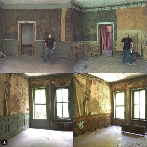 This photo shows one of the rooms before and after the trim, wainscoting, and crown molding were removed