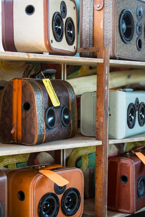Great example of up-cycling. Old suitcases turned into stereo speakers!